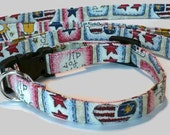 God Bless the USA  Dog Collar and Matching Leash