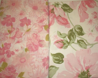 Fabric, yard good, reclaimed linens, reclaimed sheets, up cycled, coordinating pink fabric, sewing, quilting, crafting, home decor