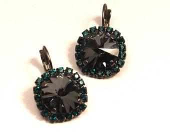 Black & Emerald Green Crystal Dangle Earrings Sparkling Jet Diamond Solitaire Swarovski 14mm Studded Crown Gunmetal Brass Holiday Sparklers