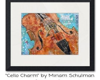 CELLO | musical art | Fine art print | mixed media art | collage art | fine art PRINT | musical artwork | music artwork | music wall art