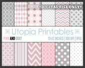 Pink And Gray Digital Paper Pack Set Polkadot Chevron Striped Digiscrap Background Pattern Design White Grey Printable Commercial Use