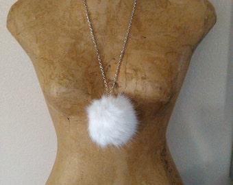 White faux fur necklace pendant