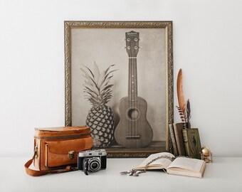 Pineapple Art, Ukulele Photo, Still Life Art, Hospitality, Music Print, Hawaiian Art, Musical, Musician Art, Fine Art Print, Beach Decor