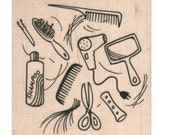background rubber stamp  Beauty Salon 7915 barber hair  hairdresser  sewing supplies paper craft   number 13009   stamps