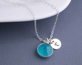 Blue Chalcedony Necklace, Personalized Gemstone Necklace, Sterling Silver Necklace, Bridesmaid Jewelry
