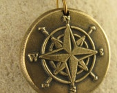 Compass Rose Wax Seal Charm Pendant, Bronze, Nautical Jewelry, Sea, Direction