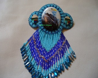 Native American Style Rosette beaded Eagle Barrette in Sky and Montana Blues