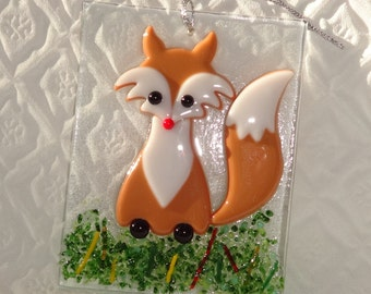 Brown Fox Fused Glass Fox Ornament, Holiday Ornament,  Package Tie, Christmas Suncatcher, Winter Decoration, Fused Glass Fox Suncatcher