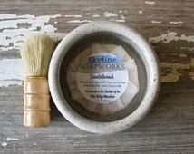 Rustic White Shaving Bowl - Shave Cup - Shaving Scuttle - Men's Gift Set