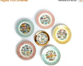 sale Your Choice vintage State Plate - Road Trip Souvenir Plates - Pastel Gold filigree - cottage kitsch