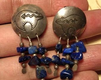 1970s Long Vintage Tribal Bear Symbol Sterling Silver Earrings Blue Denim Lapis Stones Pierced Southwestern