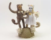 READY TO SHIP Vintage Style Spun Cotton Monkey Wedding Cake Topper Ooak