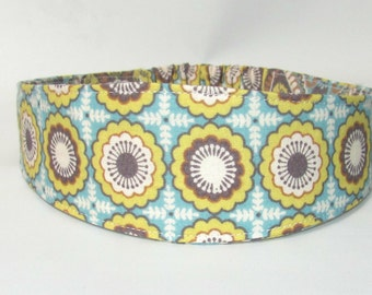 Women Headband, Adult Headband, Reversible Hairband Aqua Yellow Flowers, Women Hairband, Hair Fashion Accessories, Fabric Headband for Women