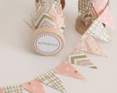 Metallic Rose Pink Gold Cake Bunting. New: Double sided Fabric mini Ribbon Cake topper. Wedding invite announcements, save the date. chevron