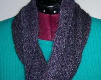 Spinning Ginny Handspun Knitted Malificent Kid Mohair Cowl