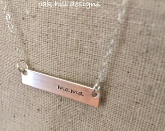 Mother's Day necklace-Silver bar mom necklace-silver mama necklace-new mom necklace-stamped bar necklace-layering necklace