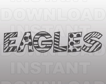 Eagles SVG File - Eagle Sports SVG File - Varsity SVG - Vector Clip Art - Commercial & Personal Use - Cricut Design Space, Silhouette Cameo