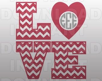 Valentines Monogram SVG File,Chevron Love SVG File,Cutting Template-Vector Clip Art for Commercial & Personal Use-Cricut,Cameo,Silhouette