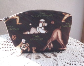 Yoga Clutch Cosmetic Bag  Purse Dogs Made in USA Antiquebasketlady