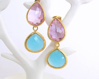 Gold Faceted Glass Double Drop Earrings