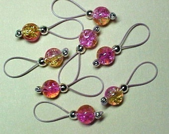 Pink Lemonade Crackle Glass Knitting Stitch Markers  - US 5 - Item No. 534