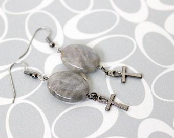 Ankh & Labradorite Earrings