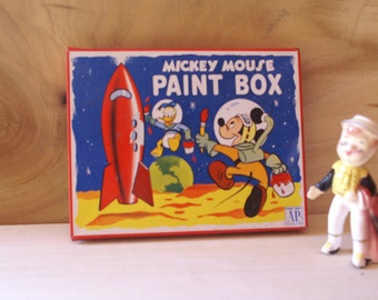 Mickey Mouse Tin Litho Paint Box, Rocket Space Donald Duck