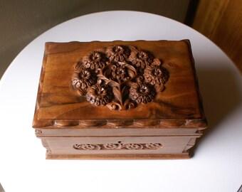 Large Vintage Carved Wood Box, Flowers Design