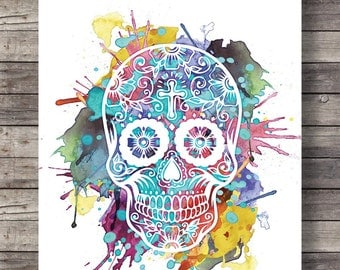 Printable art | Watercolor Sugar Skull - Dia di los Muertos - Printable wall art  - Instant download digital print