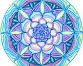 Cosmic Circle, Mandala, Visionary art, Bohemian, Sacred Geometry, Hippie, Eco-Friendly, Blue Lotus, Flower, Vinyl Sticker, Reusable Sticker