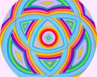Circle Painting, Original, Handmade, Modern Design, Wall Decor, Talisman, Meditation, Visualization, Neon, Color, Vibrant, Mandala, Circle