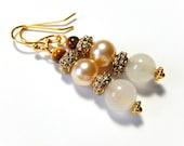 Rose Quartz Earrings, Pearl, Gold Beaded Dangles