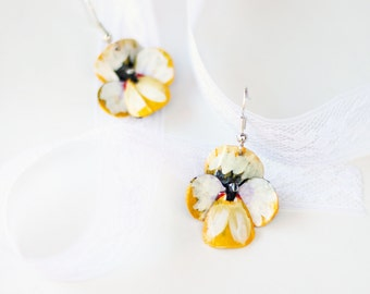 Pansy drop earrings- Christmas present ideas for mom, hand painted, flower earrings, bike inner tubes, jewelry for her, #328