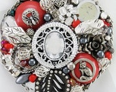 Half Off Sale Hand Mirror - Midnight Garden Cat - Repurposed Jewelry - M000983