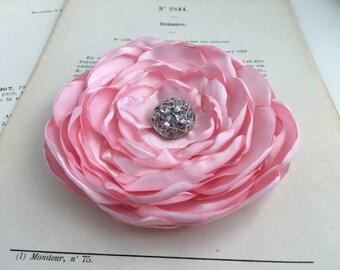 Light Pink Flower Hair Clip.brooch.pin.Bridesmaid.satin flower.Wedding.Corsage.pastel pink.hair accessory.peony pink.petal pink.fascinator