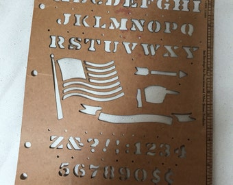 Vintage stencil with flag banners letters and numbers