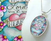 Art Gallery Jewelry Collection / Trust in the Lord with All Your Heart / 30x40mm Silver Oval Pendant