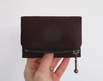 Eggplant Forester card wallet, small dark purple canvas pocket size wallet, ready to ship