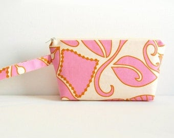 Cosmetic Case, Makeup Bag, Zipper Pouch, Toiletry Storage, Shadow in Gold, Anna Maria Horner Drawing Room