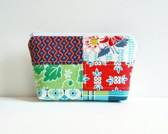 Patchwork Cosmetic Case, Zipper Pouch, Makeup Bag, Women and Teens, Denyse Schmidt, Picnic and Fairgrounds