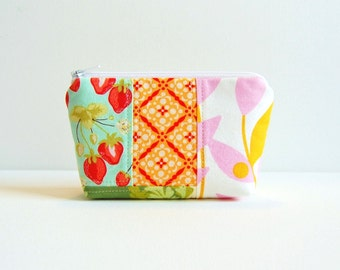Patchwork Cosmetic Case, Small Zipper Pouch, Makeup Bag, Women and Teens, Heather Bailey and Sandi Henderson Fabrics