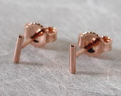 5mm x 1mm Thin Simple Earrings 14k Rose Gold Bar Studs Teeny Tiny Minimal Earrings Small Skinny Studs by SARANTOS