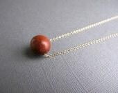 Vintage Wood Bead Necklace, 14k Gold Chain Minimalist Jewelry
