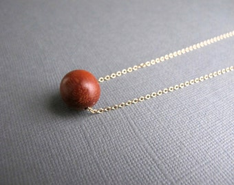 Vintage Wood Bead Necklace, 14k Gold Chain Minimalist Jewelry