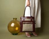 70s contrast trim buckle tote purse / oversized purse / 1087a