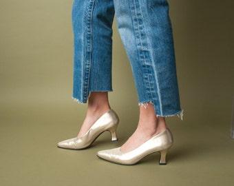FERRAGAMO gold fabric pumps / metallic shoes / gold heels / 6.5 / 691s