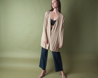 tan oversized cardigan jacket / lightweight minimalist jacket / simple lightweight top / m / 1690t / B18