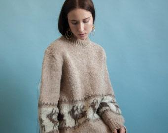 icelandic arctic sheep wool sweater / oversized sweater / animal print sweater / m / 1430t