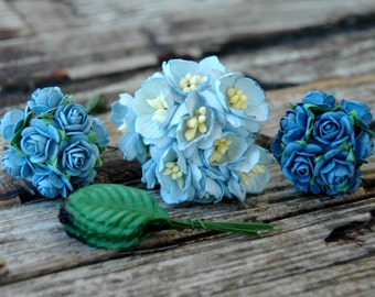 40pcs . Blue Paper Flowers . Wedding Paper Flowers . Small Paper Flowers . Millinery Flowers Paper Roses . Baby Blue Denim . Baby Shower DIY