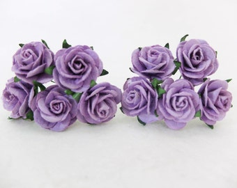 "10 25mm purple paper roses - 1"" purple mulberry paper flowers with wire stems"
